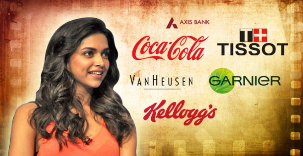 Actress Deepika Padukone is brand ambassador for such names as Coca-Cola, Sony, Nescafé, Garnier, Kellogg's and Neutrogena.